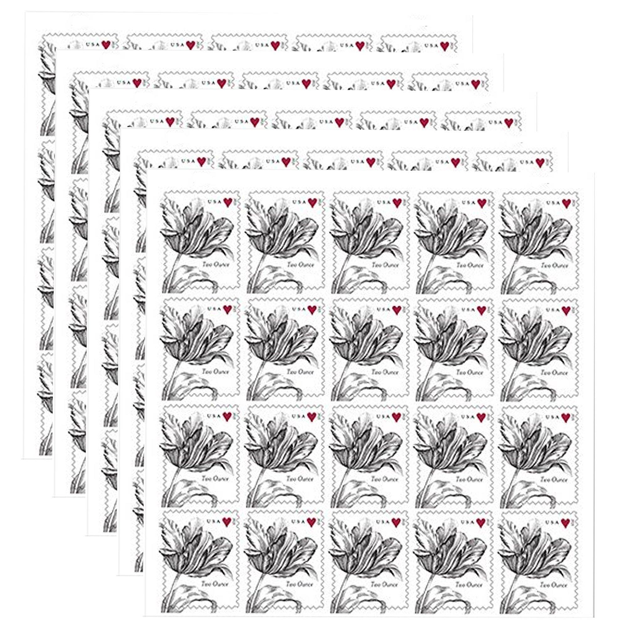 Vintage Tulip 5 sheets of 20 USPS Forever 2 Oz. Postage Stamps
