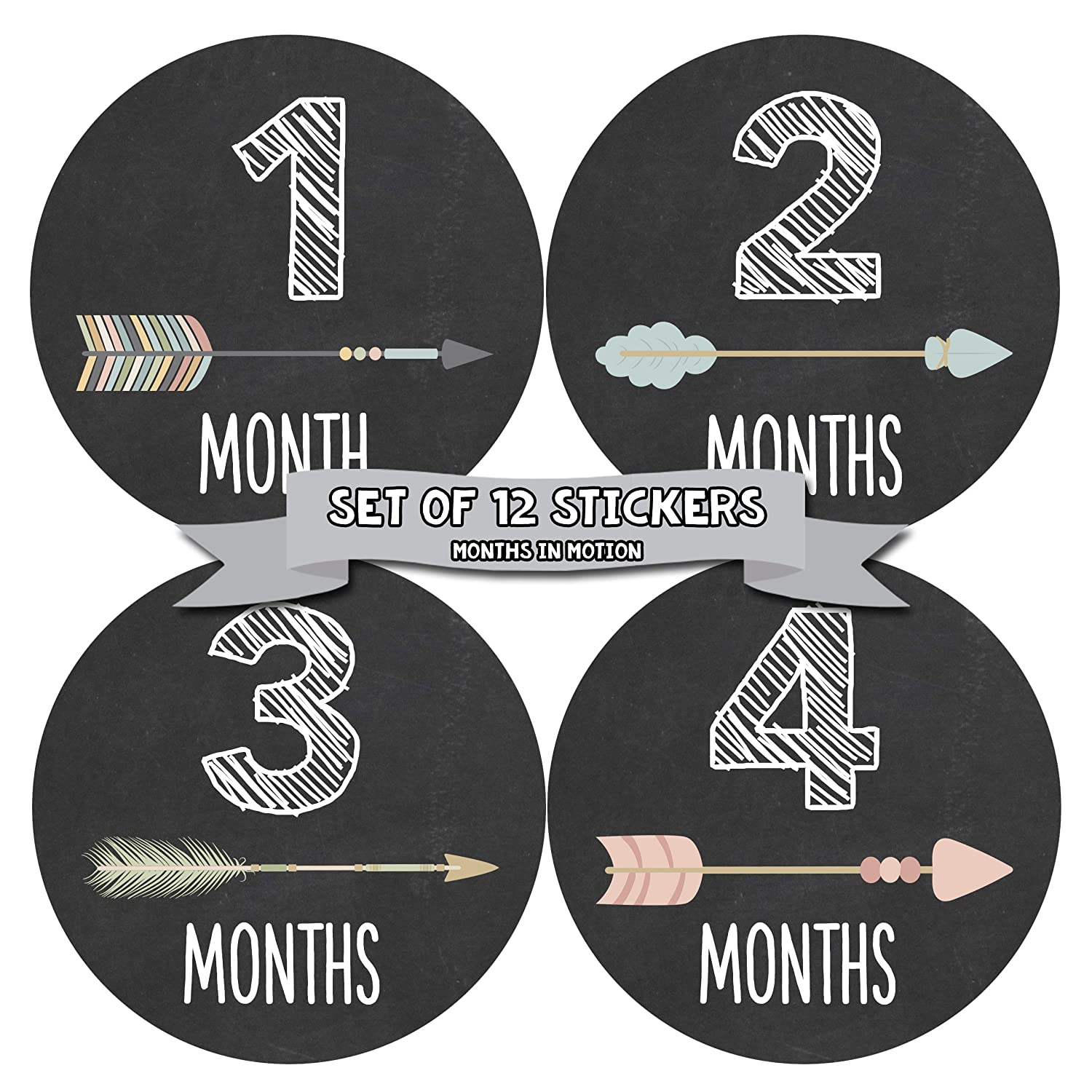 Months In Motion - Baby Month Stickers - Monthly Baby Sticker for Girls - Tribal Arrows (1106) by Months In Motion 1062
