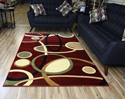 Modern Abstract Contemporary Design Red Burgundy Multi-Color Rug Carpet Stain Resistant Beautiful Area Rug 8 11