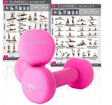 KG Physio Mancuernas de Neopreno para Mujer y Hombre (Pesas vendidas en Pares) Gratis Poster A3 Doble Cara para Pared! Ideal para Entrenar en casa: ...