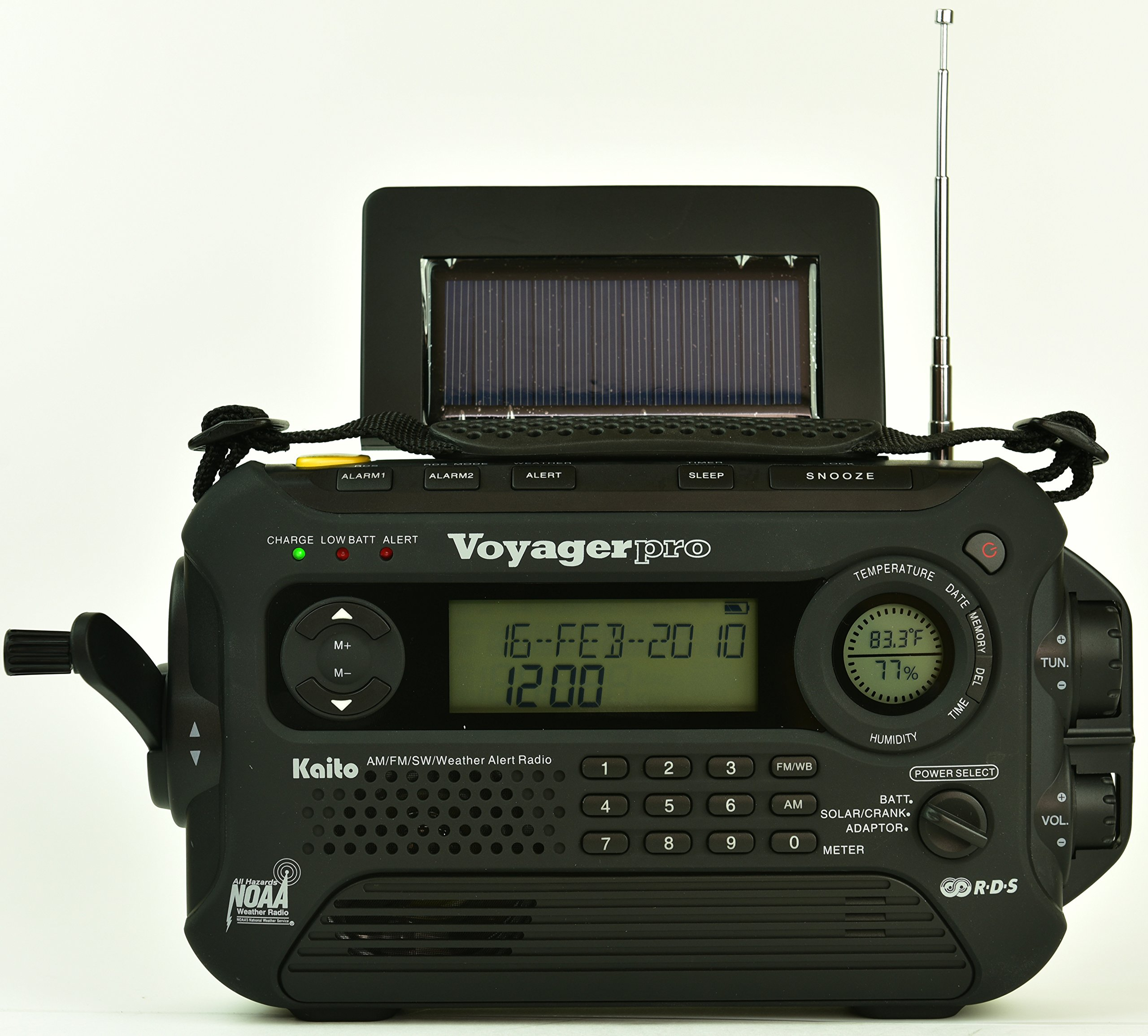 Kaito KA600L 5-Way Powered Emergency AM/FM/SW NOAA Weather Alert Radio with Solar,Dynamo Crank,Flashlight and Reading Lamp, Digital Radio with Larger Battery and Solar Panel (Black) by Kaito