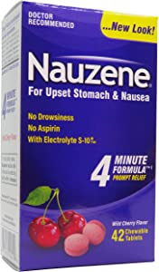 Nauzene Upset Stomach & Nausea Relief Chewable Tablets Wild Cherry Flavor - 42 ct
