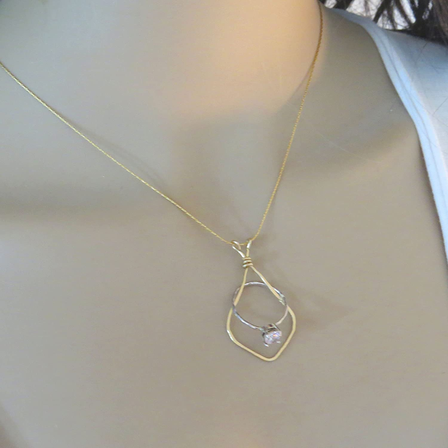 Amazon Com Gold Filled Wedding Ring Holder Necklace 16 5 18 With