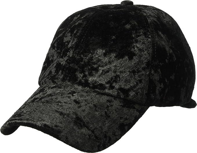 fd6a6a1653e57e Amazon.com: Orchid Row Women's Fashion Velvet Baseball Cap Black O/S ...