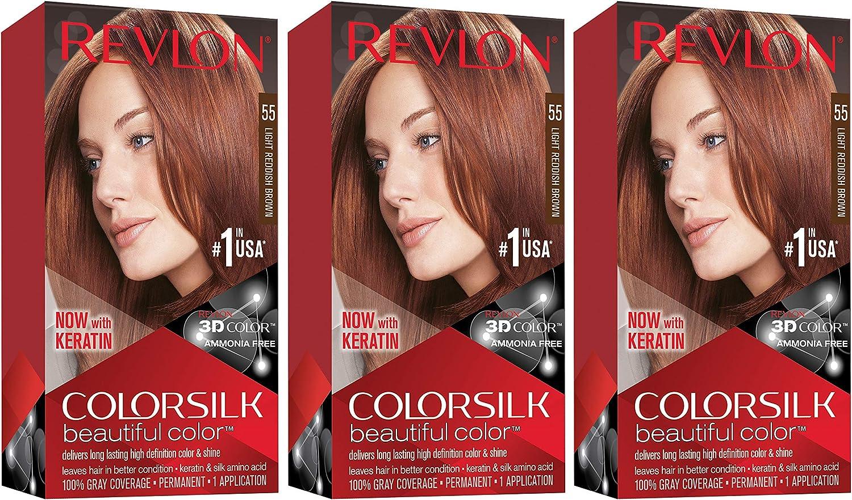 REVLON Colorsilk - Tinte permanente para el cabello con tecnología de gel 3D y queratina, 100% gris cobertura tinte para el cabello, 55 marrón rojizo ...