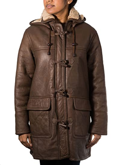 51cf4a3bc3 Brown Ladies Long Smart Warm Winter Real Shearling Sheepskin Leather Duffle  Coat (Sizes 8-