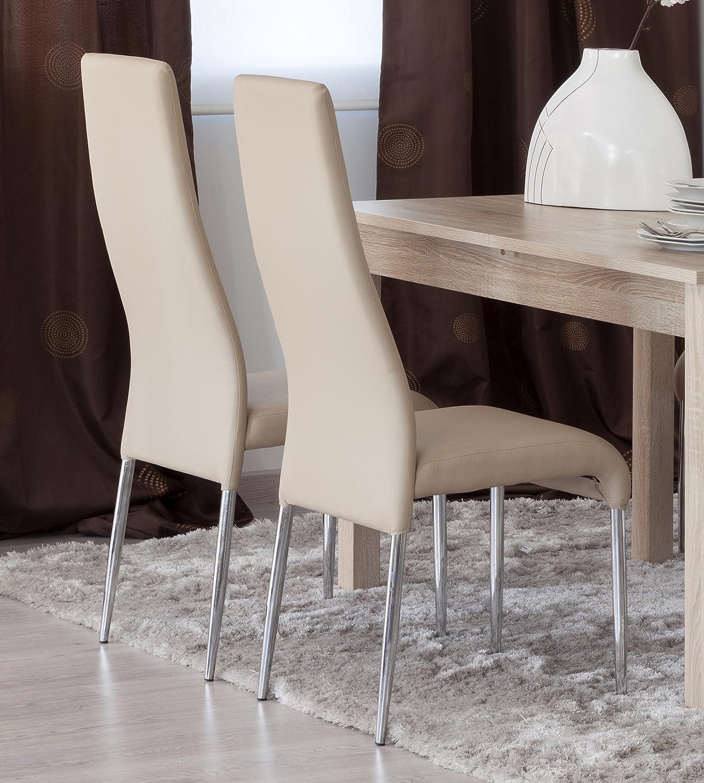 Sillas salon silla de comedor con respaldo acolchado for Sillas comedor polipiel beige