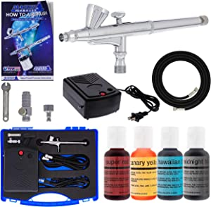 Master Airbrush Cake Decorating Airbrushing System Kit with a Set of 4 Chefmaster Food Colors, G34 Gravity Feed Dual-Action Airbrush, Air Compressor, Hose, Storage Case, How-to-Airbrush Guide Booklet