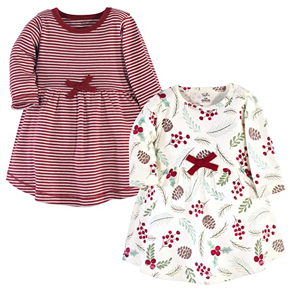 Touched By Nature Girl Long Sleeve Organic Dress 2-Pack Coral Garden