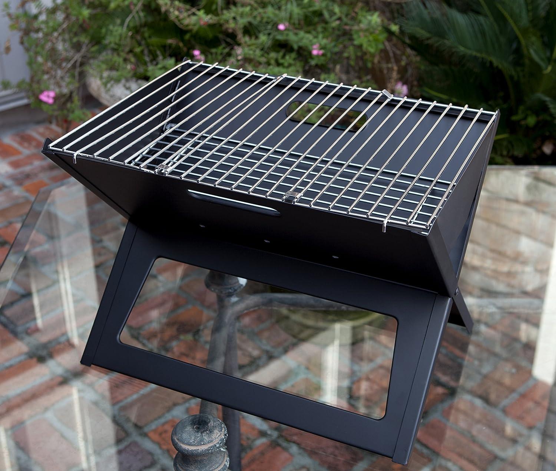 Fire Sense Black Notebook Charcoal Grill | Heavy Duty 14 Inch Steel