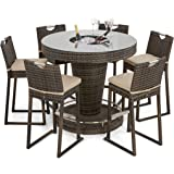 b258c24f0a7e7 Maze Rattan Round 6 Seat Bar Set with Luxury Inset Ice Bucket in a Weave -