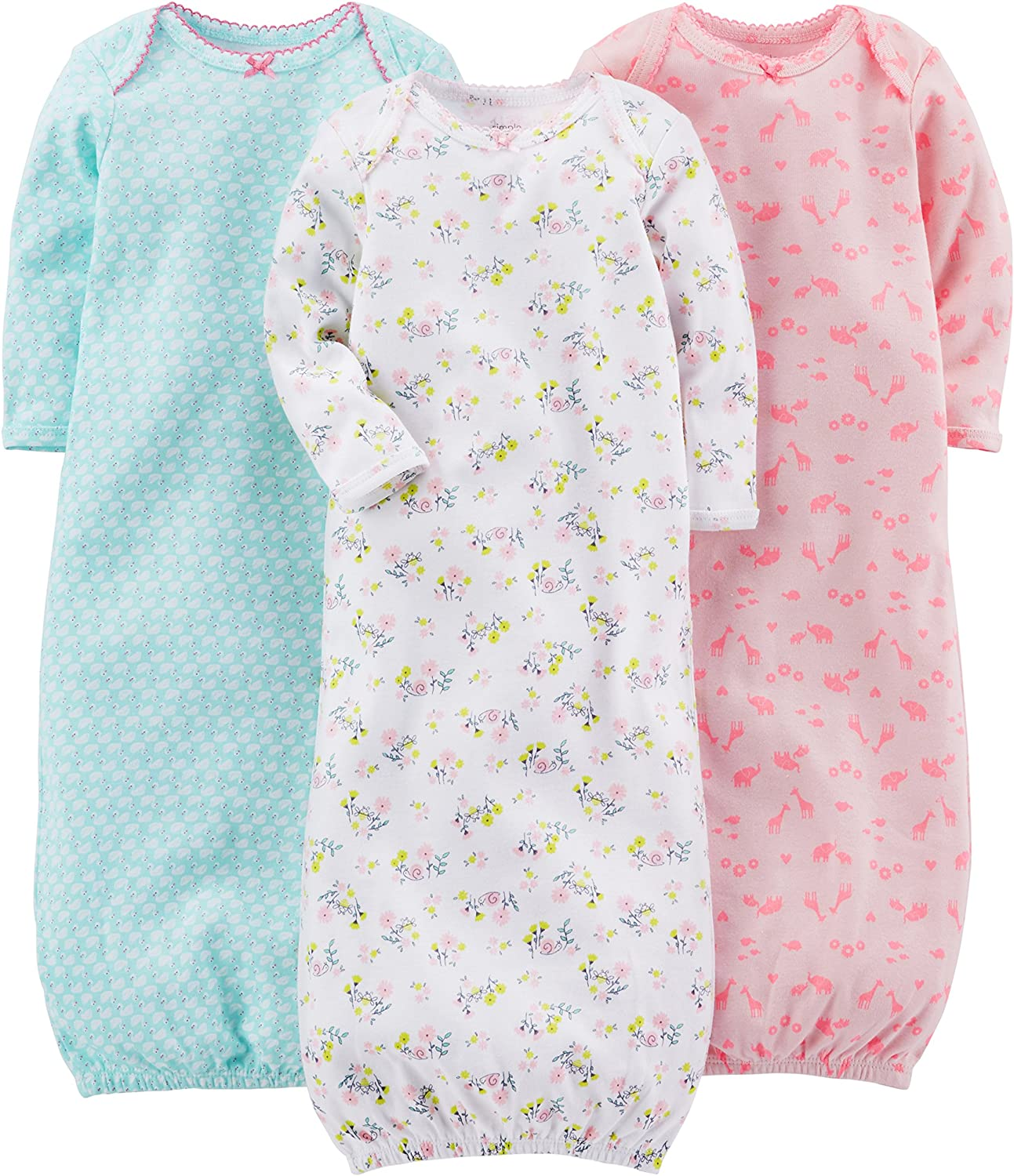 Simple Joys by Carter's Baby Girls' 3-Pack Cotton Sleeper Gown: Clothing