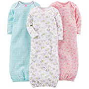 Simple Joys by Carter's Baby Girls' 3-Pack Cotton Sleeper Gown, Blue, Pink, White Floral, Newborn
