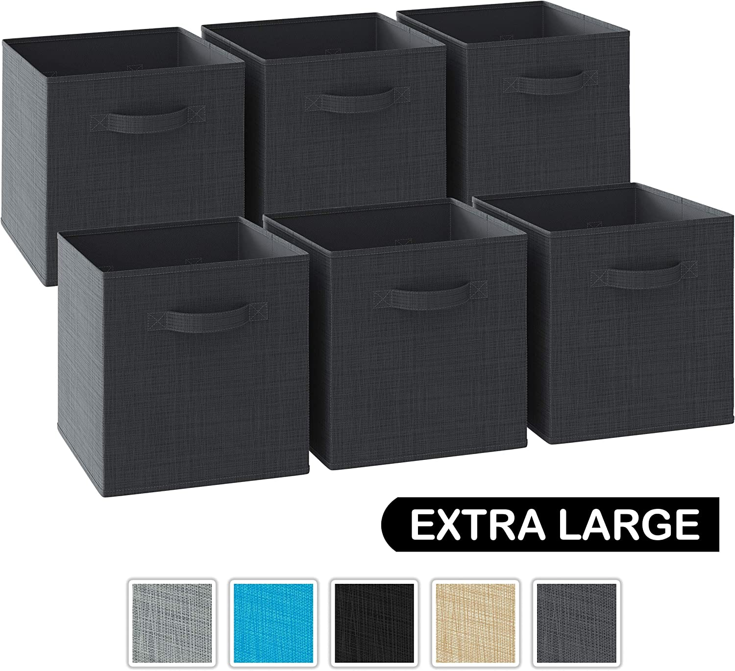 NEATERIZE 13x13x13 Large Storage Cubes - Set of 6 Storage Bins. Features Dual Handles | Cube Storage Bins | Foldable Closet Organizers and Storage | Fabric Box for Home, Office (Dark Grey)