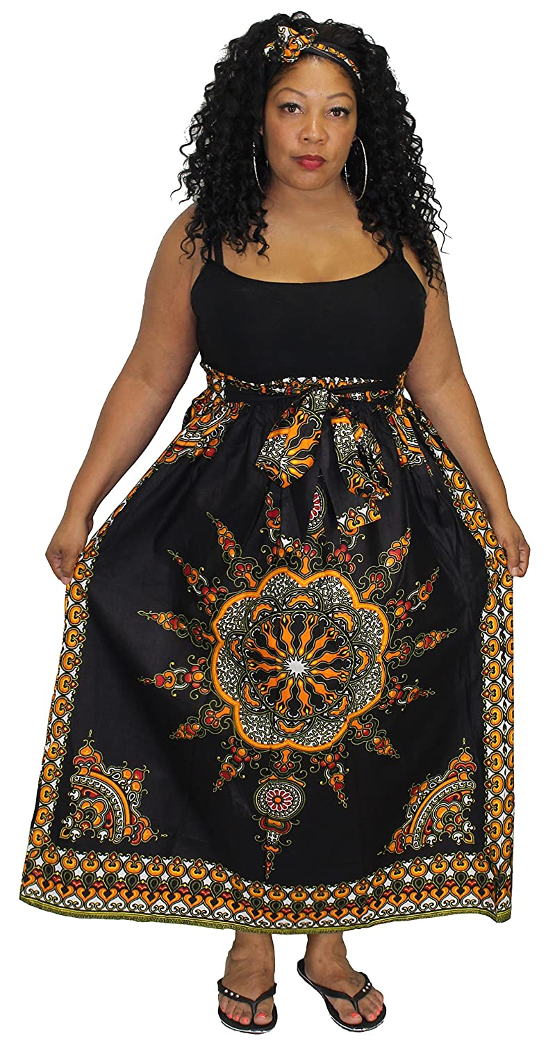 1de41bda319 Traditional Dashiki Sun Print. One size fits most - Up to XL. Elastic Waist  with Bow Tie. Beautiful Cotton Wax Material. Skirt has two Pockets
