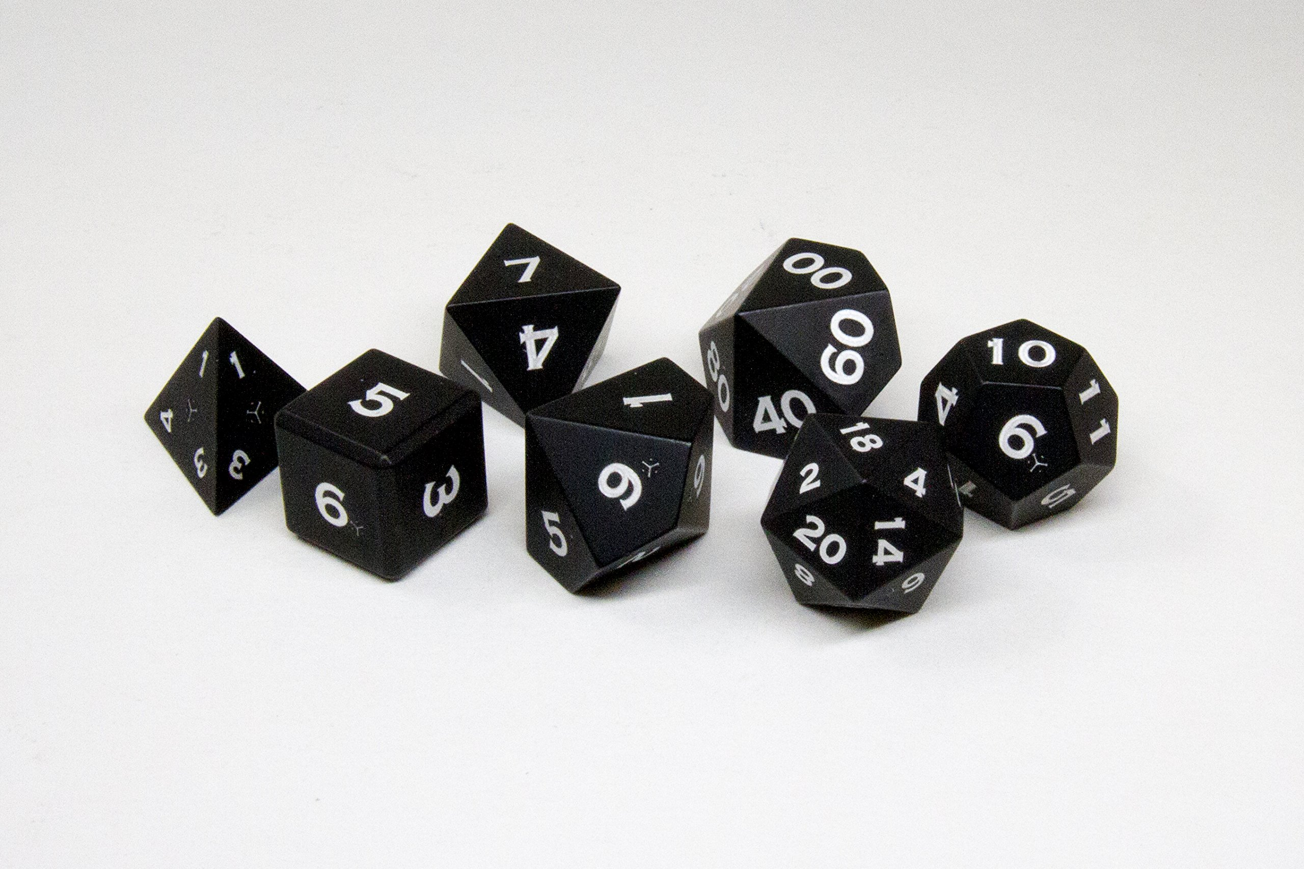 Gravity Dice 7 Metal Polyhedral Dice Set - Anodized Aluminum - World's Most Precise Gaming Dice (Black)