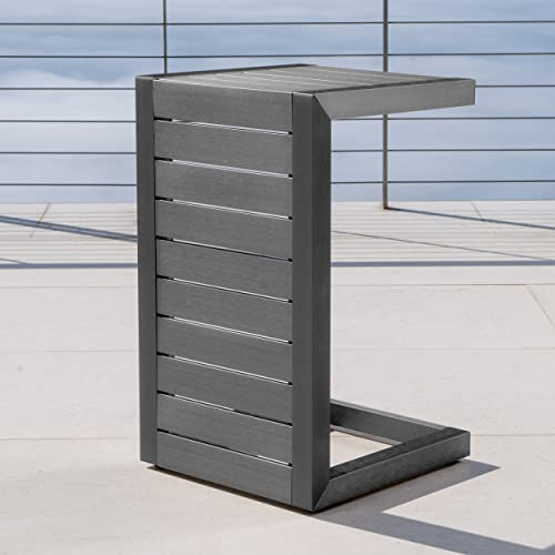 Crested Bay Patio Furniture Outdoor Grey Aluminum C-Shaped Side Table