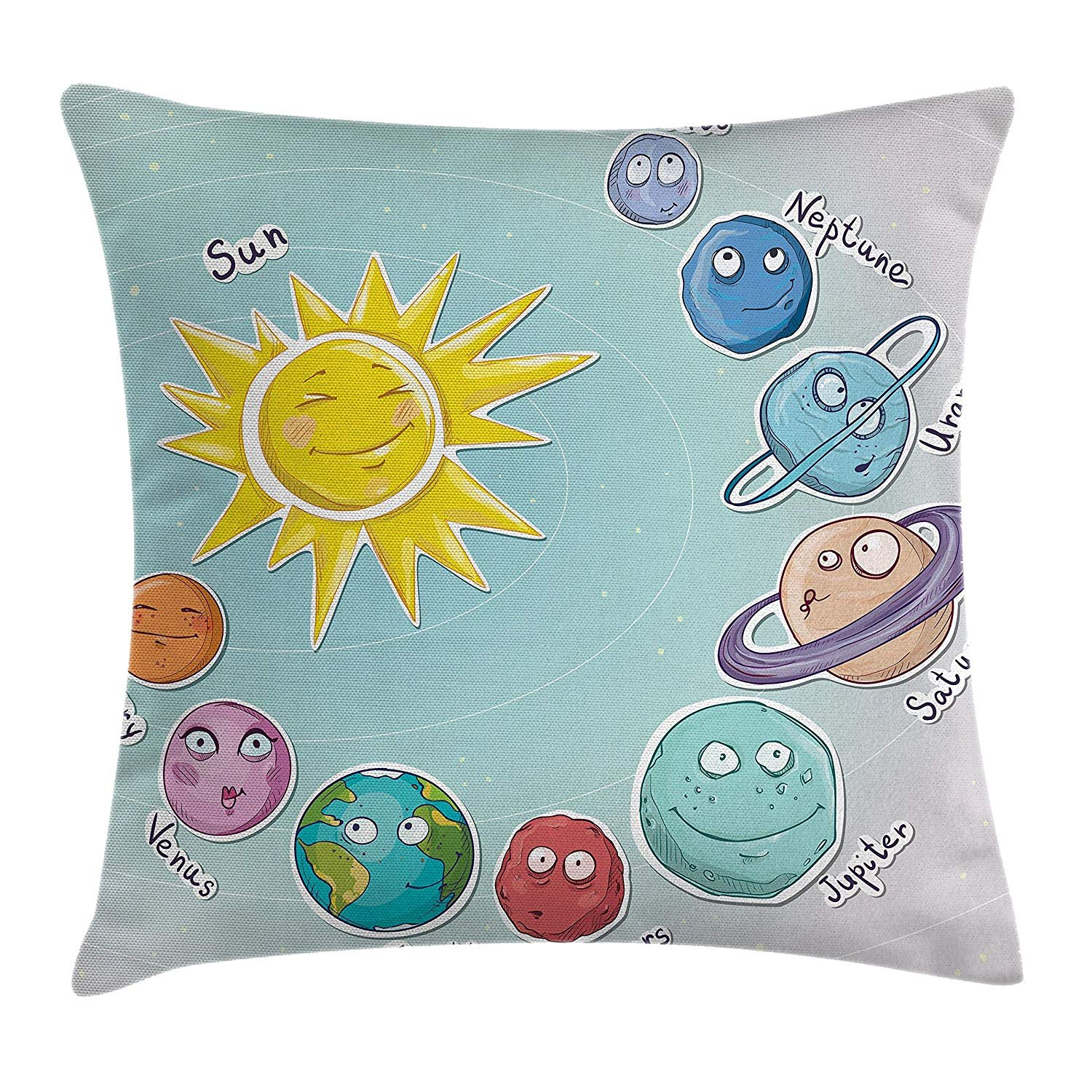 Queen Area Space Cute Cartoon Sun Planets Solar System Fun Celestial Chart Baby Kids Nursery Theme Square Throw Pillow Covers Cushion Case Sofa Bedroom Car 18x18 Inch, Multi