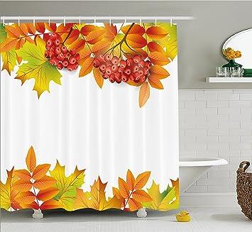 Rowan Vorhang Für Die Dusche Von Ambesonne, Herbst Zweige Design Mit Bordüre  Rot Ashberries Und