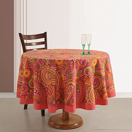 Exceptionnel 4 Seater Cotton Tablecloth Indian Home Décor 70 Inches Round Printed Floral