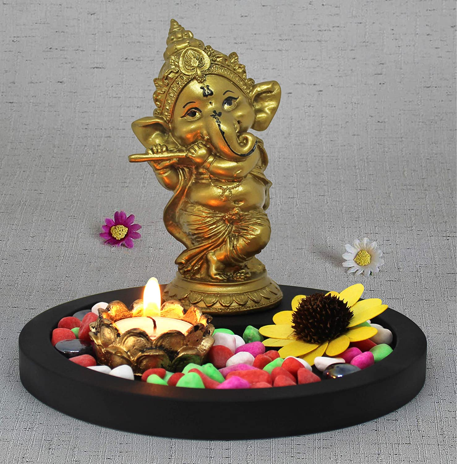 TIED RIBBONS Ganesha Idol Playing Bansuri Figurine with Tealight and Stones on Wooden Tray Centerpiece - Decorative Item for House Warming Home Decoration and Diwali Gifts