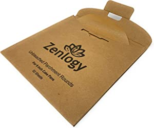 "Zenlogy 9 inch Parchment Rounds (50 Pcs) - Exact Fit Unbleached Rounds for Your 9"" Cake Pans - Comes with Convenient Pullout Storage Box"
