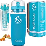 Hydracy Fruit Infuser Water Bottle - 32oz / 25oz Sports Bottle - Insulating Sleeve, Time Marker & Full Length Infusion Rod +