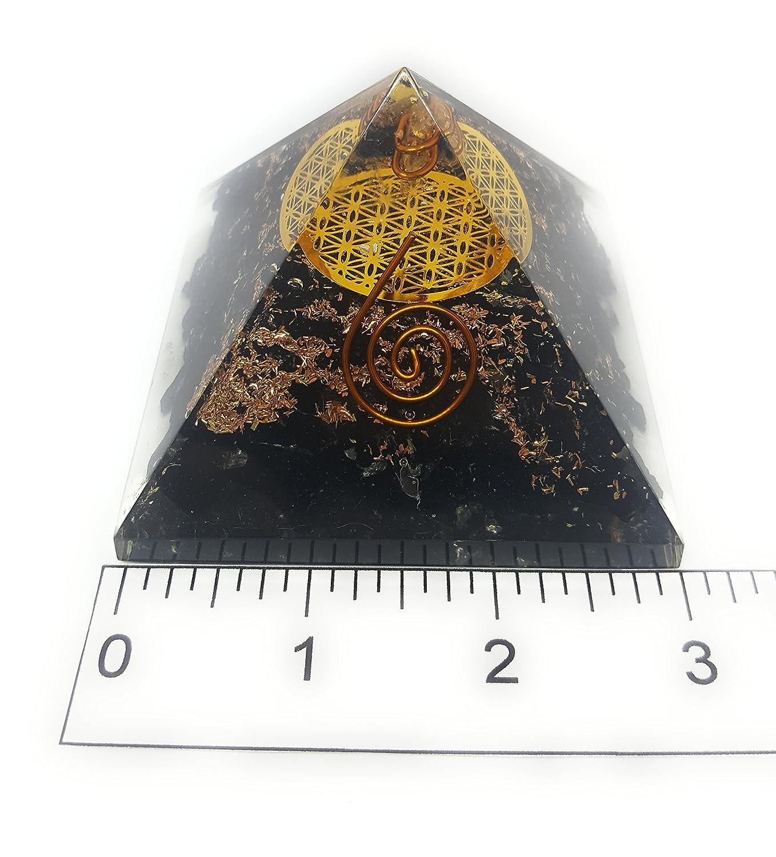 Orgón Pyramid negro turmalina con el símbolo de la flor de ...