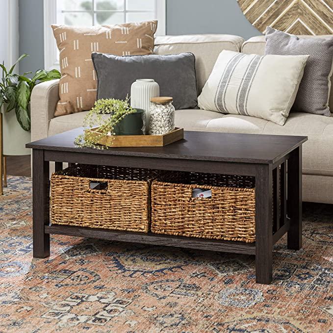 Amazon Com Lucas Transitional Coffee Table With Storage In Espresso Kitchen Dining