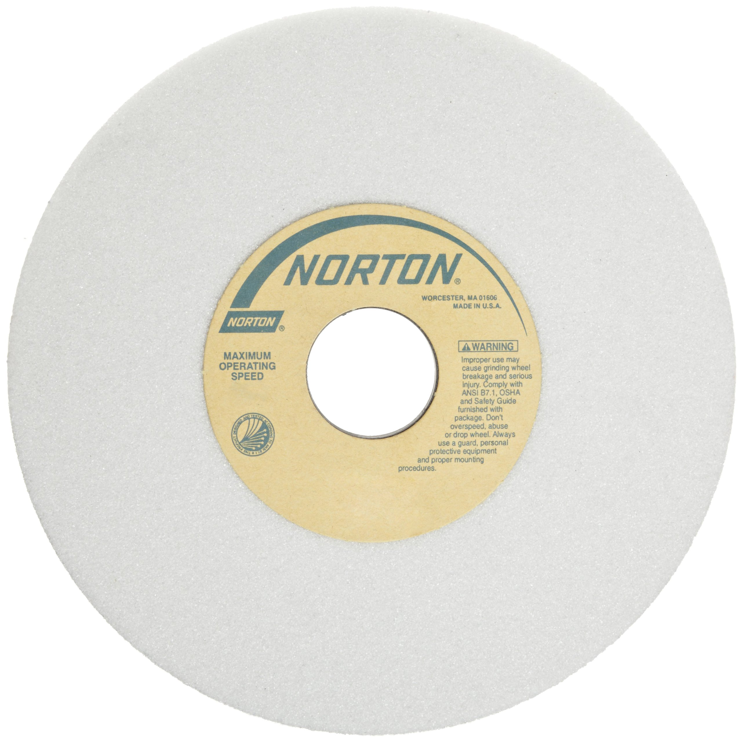 Norton 38A Vitrified Toolroom Abrasive Wheel, Type 01 Straight, Aluminum Oxide, 1-1/4'' Arbor, 7'' Diameter, 1/2'' Thickness, 46-H Grit (Pack of 10) by Norton Abrasives - St. Gobain