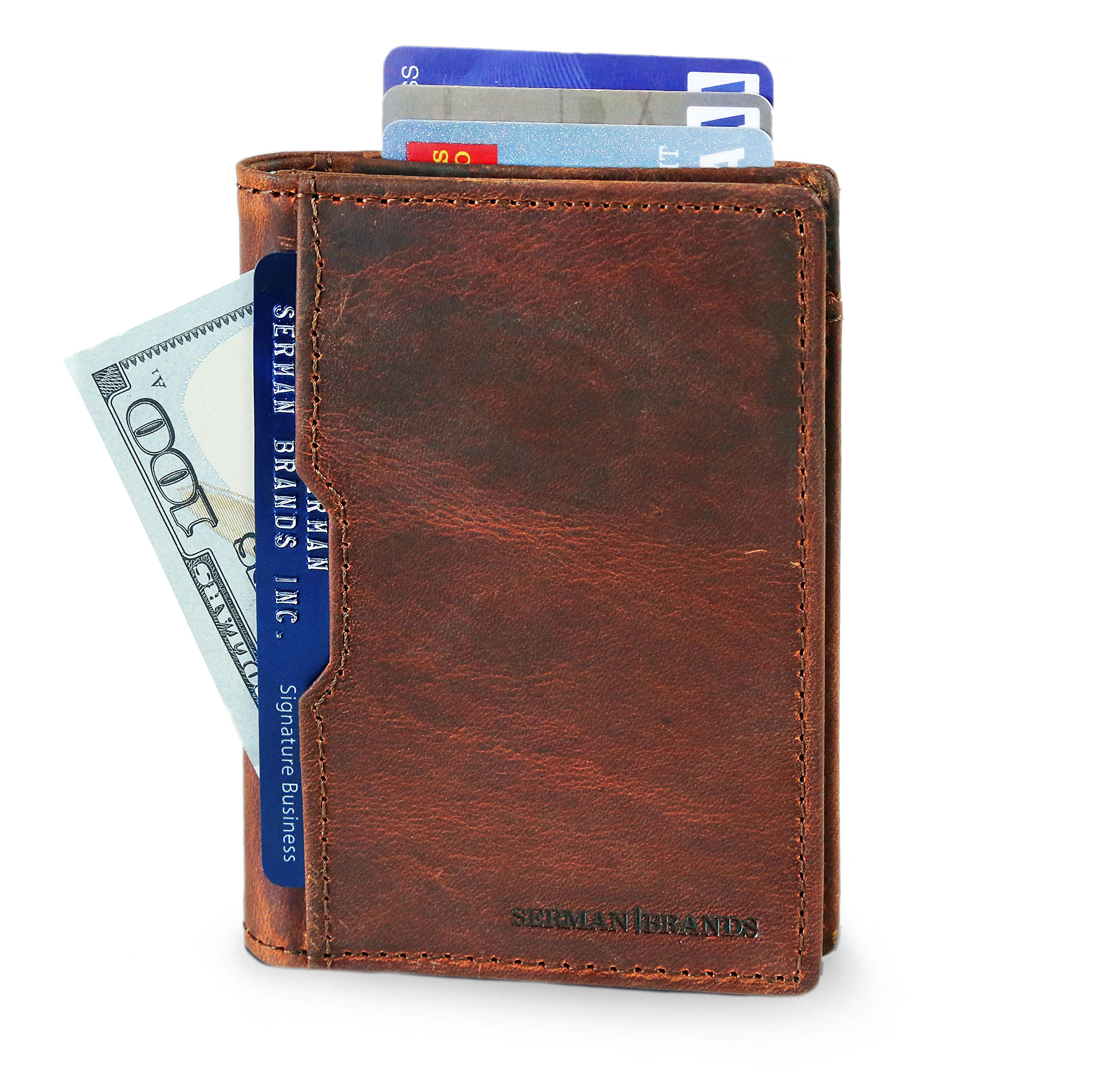 Wallets for Men Slim Mens leather RFID Blocking Minimalist Card Front Pocket Bifold Travel Thin (Canyon Red 5.0)