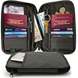 CampTeck Travel Wallet Passport Holder & RFID Organiser Pouch for Credit Debit Cards, IDs, Documents, Money, Ticket, Key, Smartphone etc Black