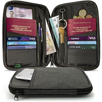 CampTeck Porta Documentos Cartera de Viaje Pasaporte Organizador de Viajes RFID para Tarjetas, Documentos de identidad, Dinero, Boleto, Llaves, Teléfono, ...