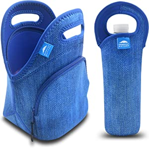Nordic By Nature Neoprene Lunch Bag For Women, Men & Kids Extra Thick Insulated Neoprene Lunch Tote With Water Bottle Sleeve Durable Reusable Machine Washable Extra Pocket YKK Zippers (Blue Denim)