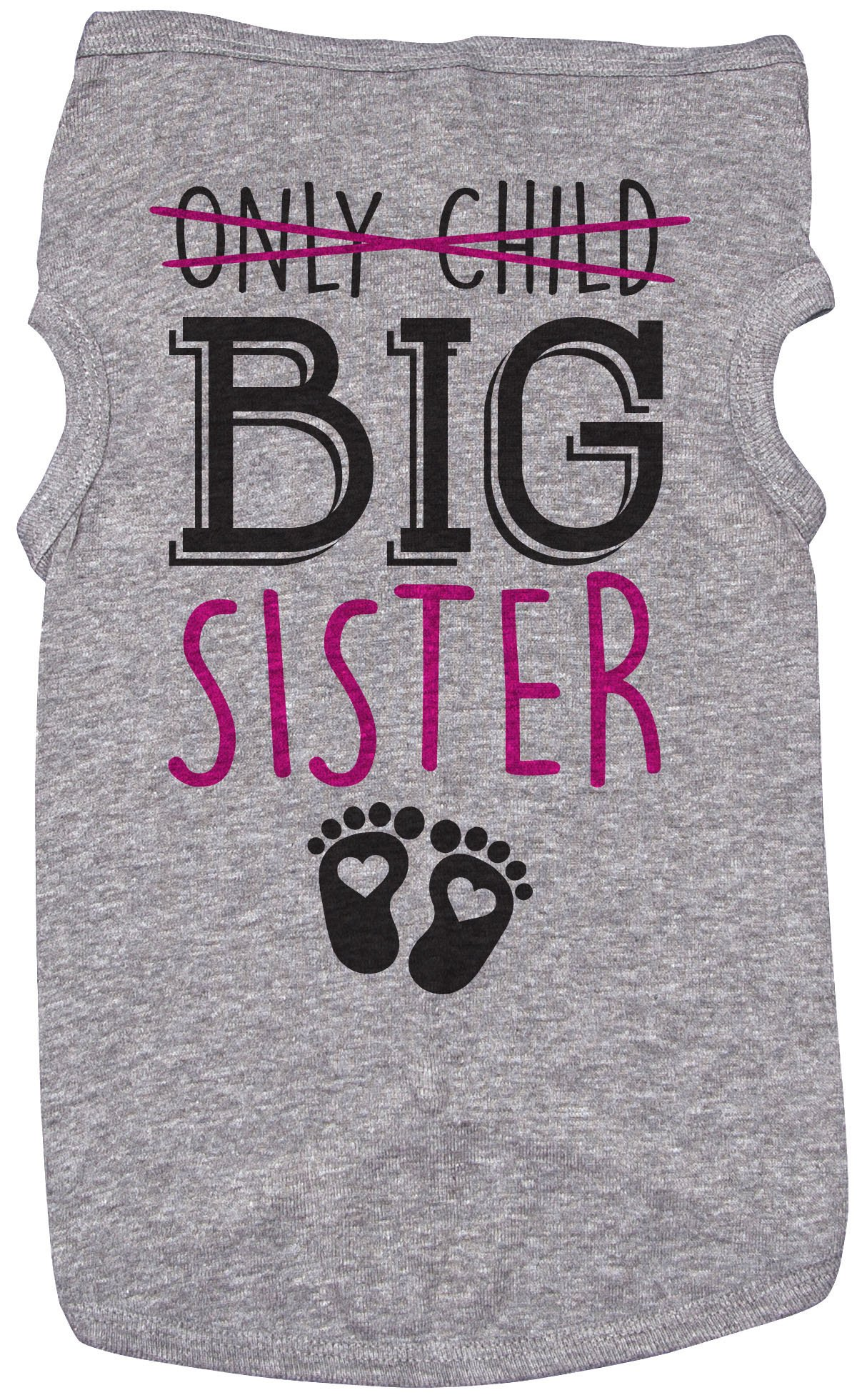 Big Sis Shirt for Dogs/ONLY Child, Big Sister/Grey Puppy Tee (Medium)