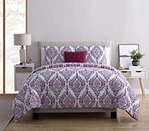 VCNY Home Lyndon Bohemian Damask 4 Piece Bedding Comforter Set, Full/Queen, Purple