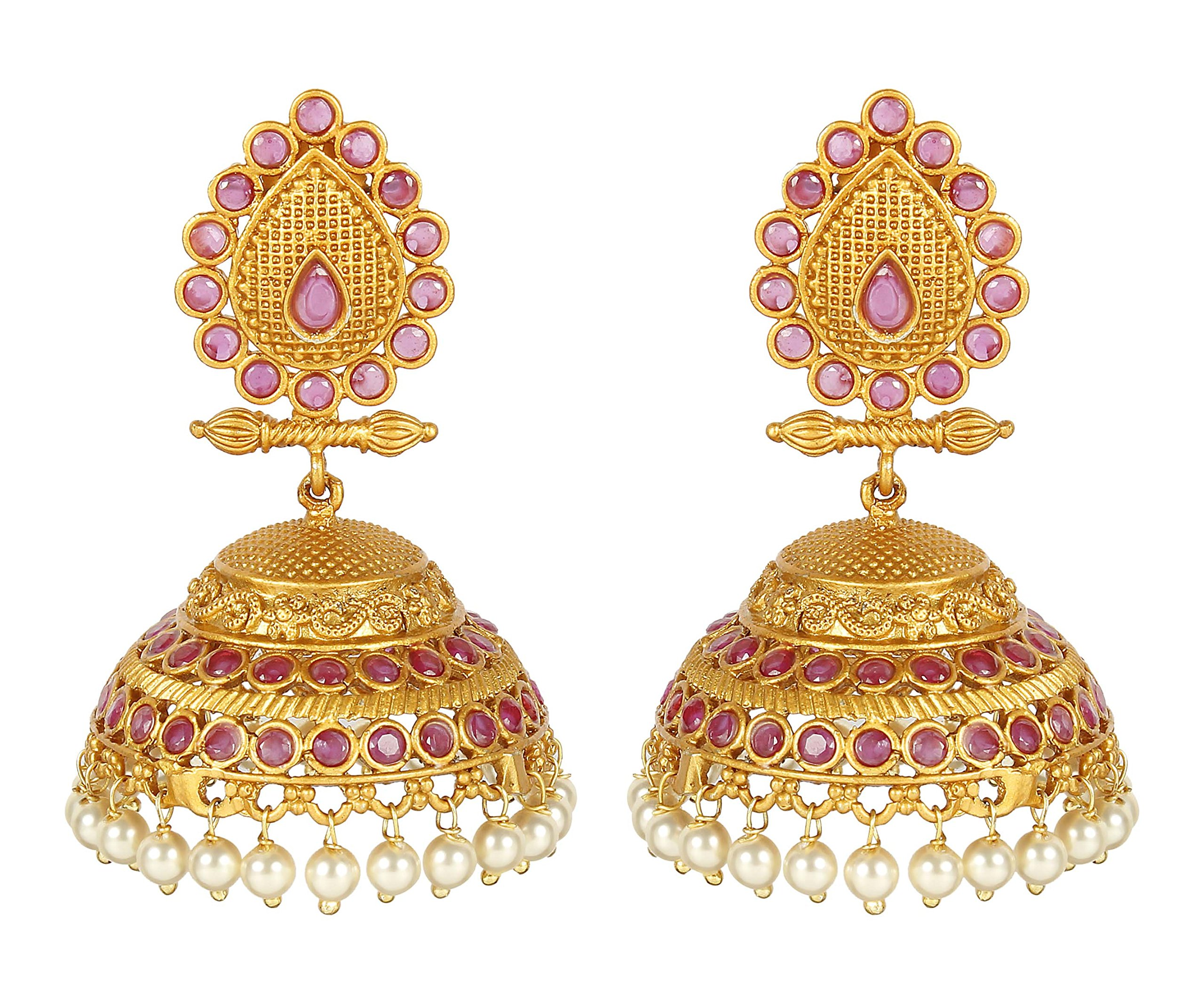 MUCH-MORE Indian Unique Style Gold Plated Party Wear Polki/Jhumka Earring Jewelry for Women (7429)