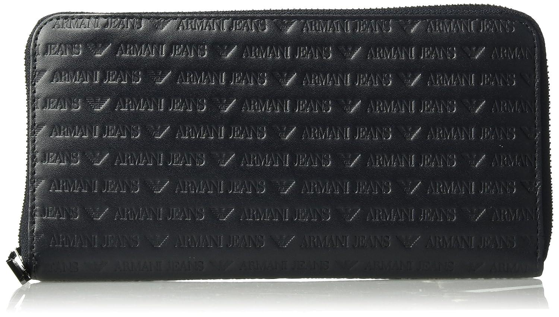 Armani Exchange Men's Safiano Embossed Pu Round Zip Wallet Armani Jeans Men' s Accessories 938542CC999