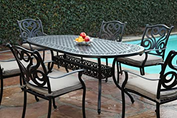 Amazon.com : CBM Outdoor Cast Aluminum Patio Furniture 7 Pc Dining ...