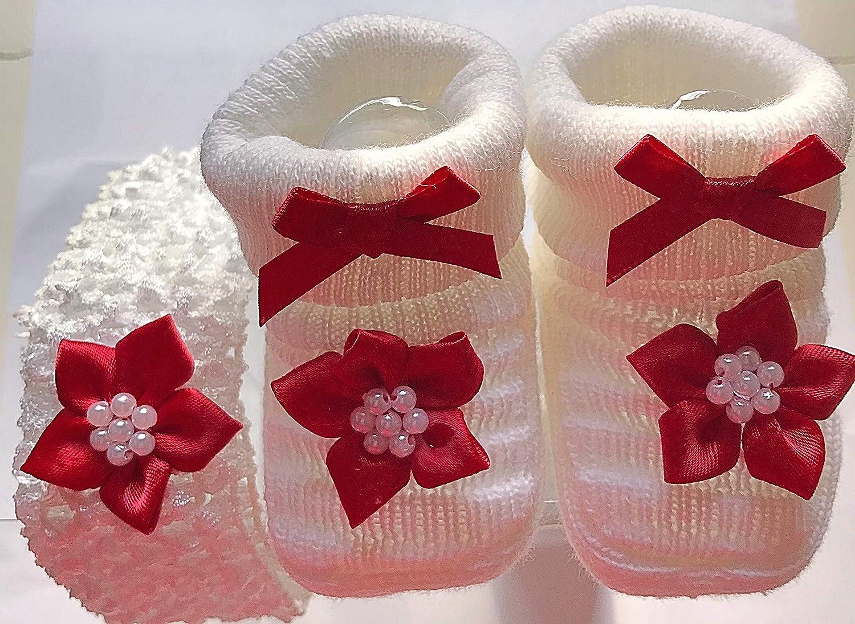Bebé niñas Navidad recién nacido rojo flores patucos de punto botines zapatos y Crochet sombrero de bruja en caja de regalo (0 - 3 meses: Amazon.es: Bebé