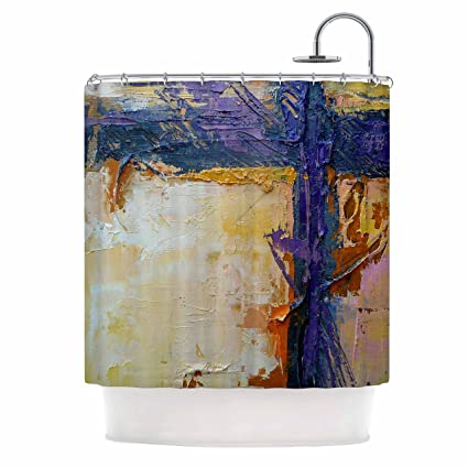 69 by 70 Kess InHouse Carol Schiff Coral and Blue Beige Blue Shower Curtain