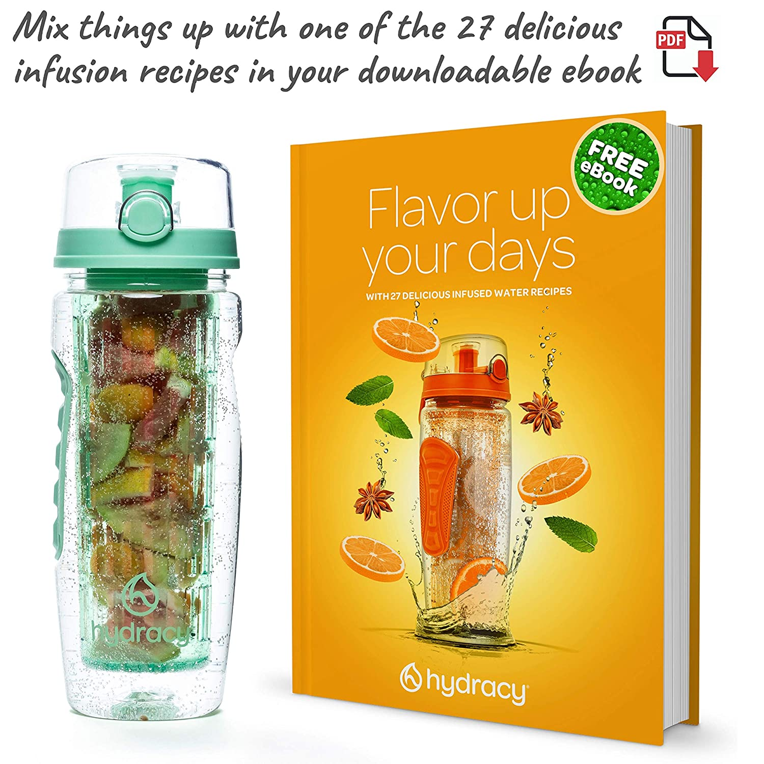 32 oz Sports Bottle Time Marker Full Length Infusion Rod /& Insulating Sleeve 27 Fruit Infused Water Recipes eBook Gift Hydracy Fruit Infuser Water Bottle Your Healthy Hydration Made Easy
