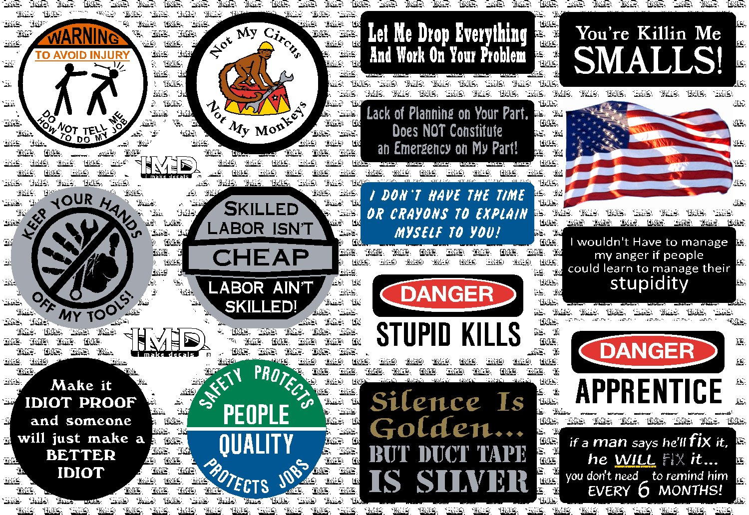 16-Pack, I Make Decals, Hard Hat, Lunch Box, Tool Box Stickers | Proudly MADE IN USA! Funny vinyl decals for Construction, Electrician, Union, Oilfield, Plumber, Mechanics | by I Make Decals (Image #2)