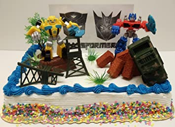 Transformers 10 Piece Birthday Cake Topper Set Featuring Bumblebee