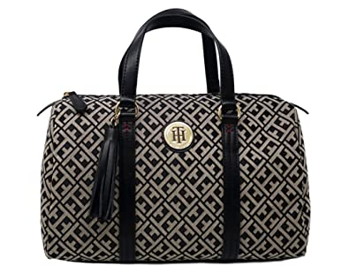 08b03feca49 Tommy Hilfiger Satchel Purse With Tassel Charm (Black): Handbags: Amazon.com