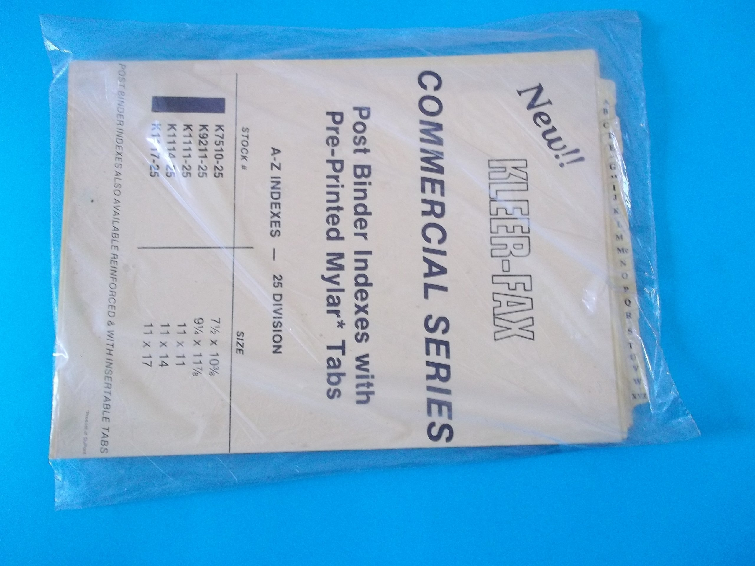Kleer Fax K7510-25 Commercial Series Post Binder Indexes with Pre-Printed Mylar Tabs A-Z Indexes 25 Divisions 7 1/2'' x 10 3/8'' 4 Hole Punched