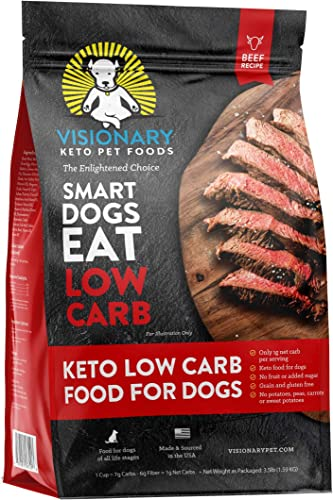Visionary Pet – Keto Dog Food Low Carb Kibble High Protein Natural Beef Flavor Grain Free Dry Dog Food with Natural Formula for Lifelong Health Happiness