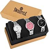 Swisstyle Analogue White Black Pink Dial Women's Combo Of 3 Watch - Ss-3Cmb-01