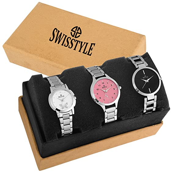 486511dcb6b Buy Swisstyle Analogue White Black Pink Dial Women s Combo Of 3 Watch -  Ss-3Cmb-01 Online at Low Prices in India - Amazon.in