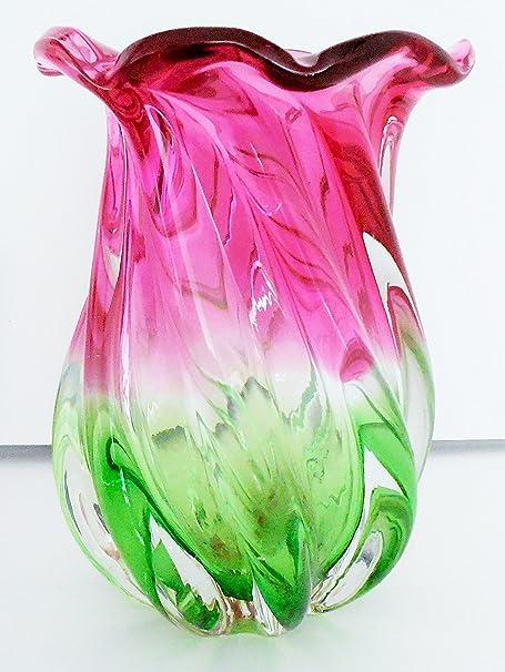 Teleflora Pink And Green Swirl 7 Vase Amazon Kitchen Home